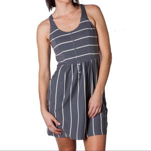 O'Neill Grey and White Striped Lace Back Dress